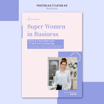Vertical poster template for women in business