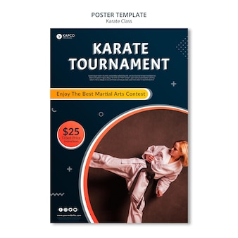 Modello di poster verticale per le lezioni di karate femminile