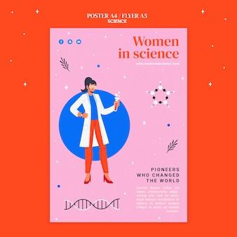 Modello di poster verticale per le donne nella scienza