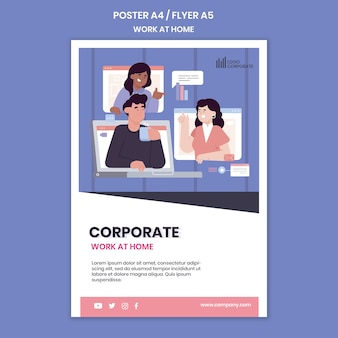 Vertical poster template for working from home