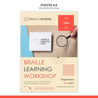Vertical poster template for world braille day