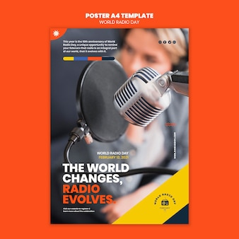 Vertical poster template for world radio day with broadcaster and microphone