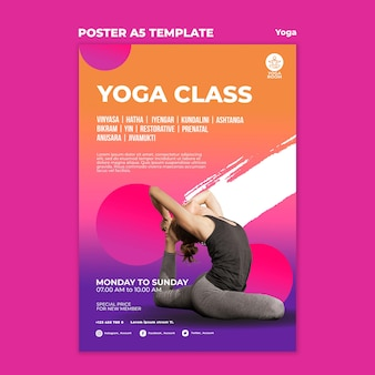 Vertical poster template for yoga class with woman