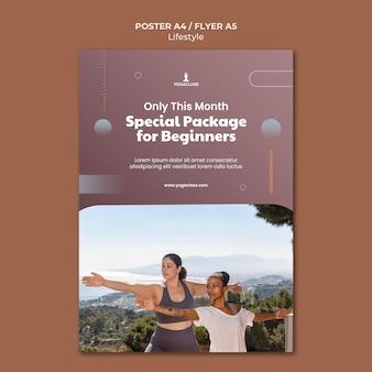 Modello di poster verticale per la pratica e l'esercizio dello yoga