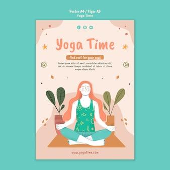 Modello di poster verticale per il tempo dello yoga