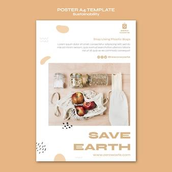 Modello di poster verticale per uno stile di vita a rifiuti zero