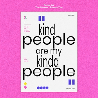 Vertical poster for type phrases