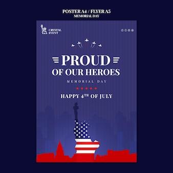 Poster verticale per il memorial day degli stati uniti