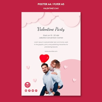 Poster verticale per san valentino con coppia innamorata