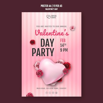 Vertical poster for valentine's day with heart and red roses