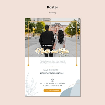 Vertical poster for wedding ceremony with bride and groom