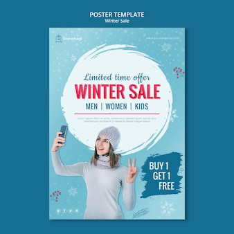 Vertical poster for winter sale with woman and snowflakes