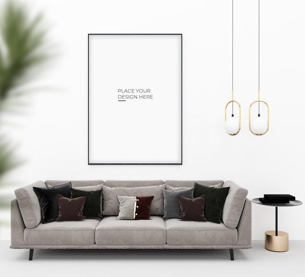 램프와 의자 디자인 모형이있는 세로 포스터