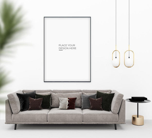 Vertical poster with lamp and chair designs mockup