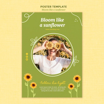 Vertical poster with sunflowers and woman