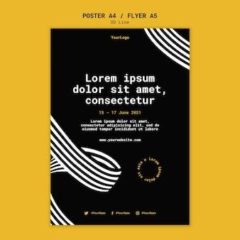 Poster verticale con linee tridimensionali