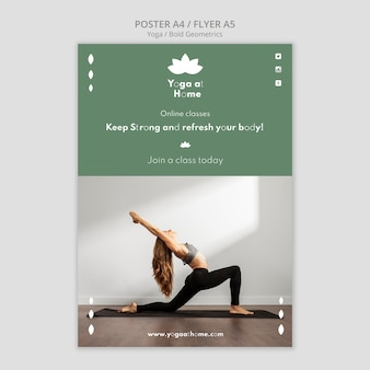 Vertical poster with woman practicing yoga