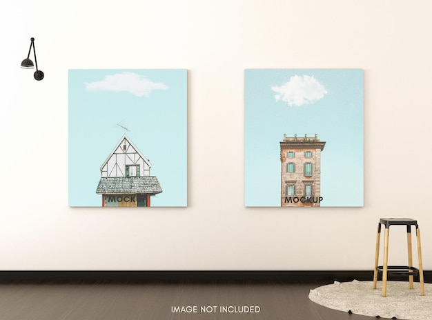 Vertical poster with wooden stool in bright room
