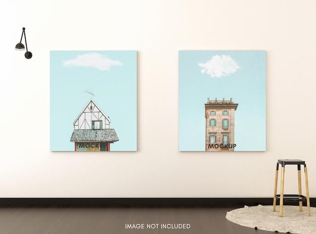 Вертикальный плакат с деревянным табуретом в светлой комнате