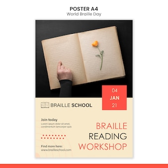 Vertical poster for world braille day