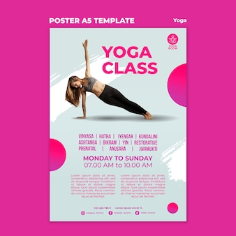 Poster verticale per lezione di yoga con donna