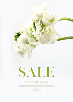 Vertical sale banner template with beautiful flowers