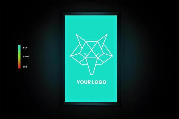 Вертикальный квадратный макет логотипа в комнате с редактируемыми цветами