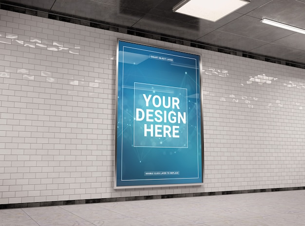 Vertical underground billboard in tunnel mockup