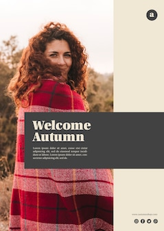 Vertical welcome autumn web template with curly hair woman
