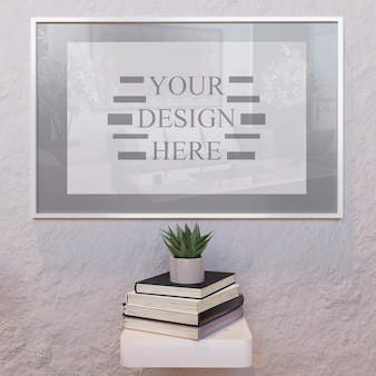 Vertical white frame mockup on wall with books on desk