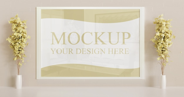 Vertical white frame mockup on the wall with wooden desk