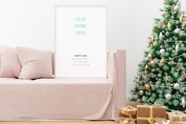 Vertical wooden poster photo frame mockup and christmas decoration