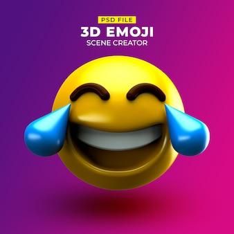 얼굴과 기쁨의 눈물이 담긴 매우 행복한 3d 이모티콘