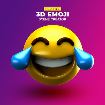 Very happy 3d emoji with face and tears of joy