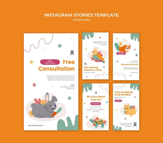 Vet clinic instagram stories template