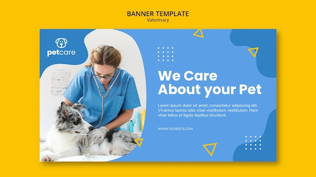 Vet consulting the dog veterinary banner template