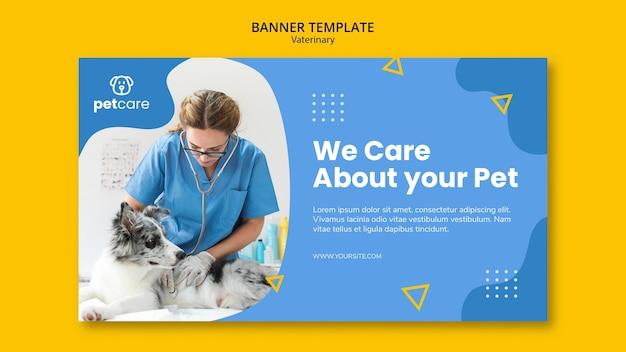 Ветеринар консультирует собаку ветеринарный баннер шаблон