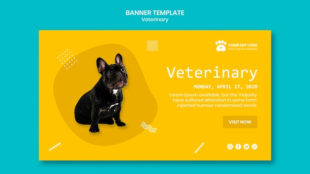 Veterinary banner template with cute dog