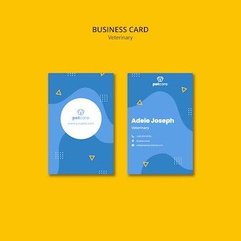 Veterinary blue business card template