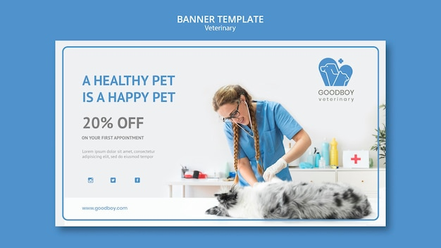 Veterinary clinic banner template
