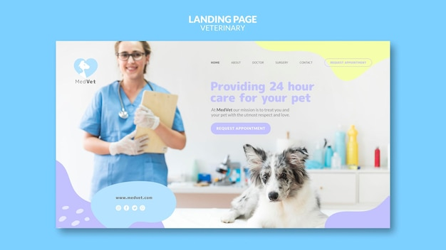 Veterinary clinic landing page template Premium Psd