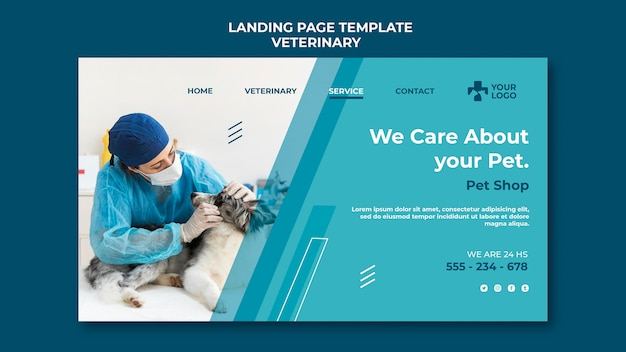 Veterinary clinic template landing page