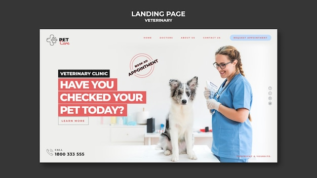 Veterinary landing page
