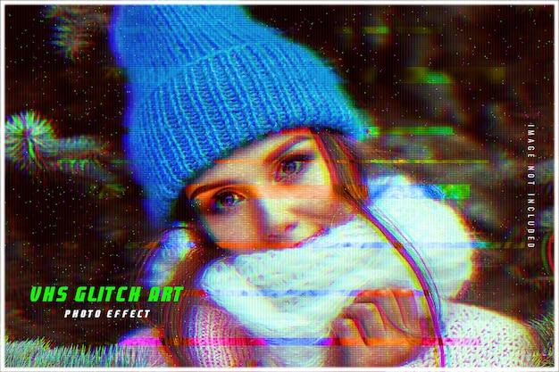 Vhs глитч арт фото эффект шаблон
