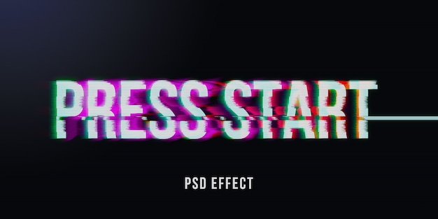 Vhs glitch text effect mockup
