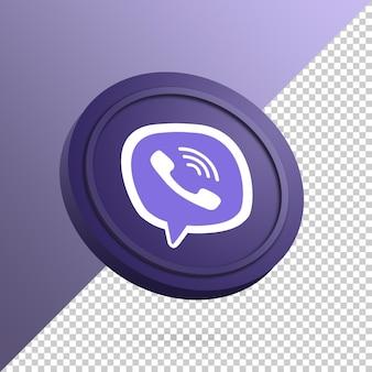 分離された丸いボタンの3dレンダリングのviberロゴ