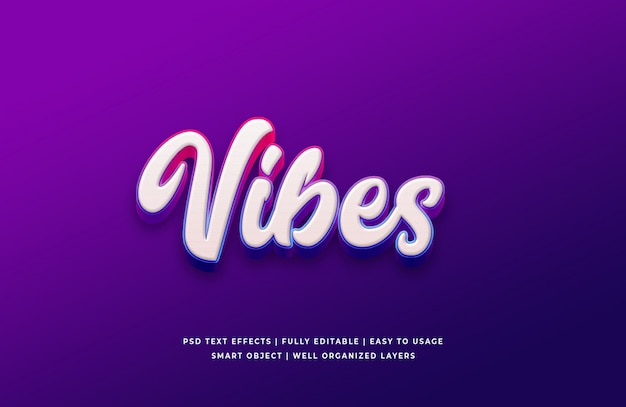 Vibes 3d text style effect premium psd