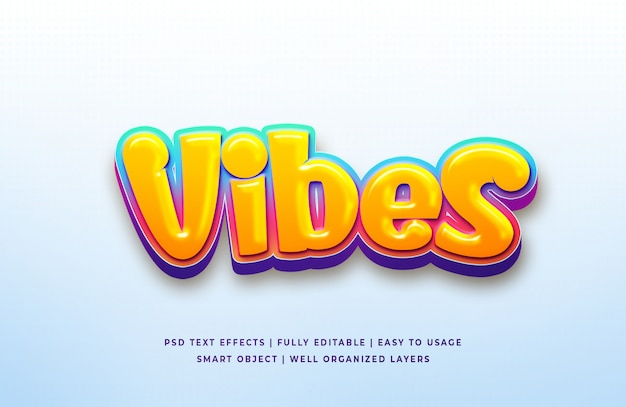 Vibes 3d text style effect