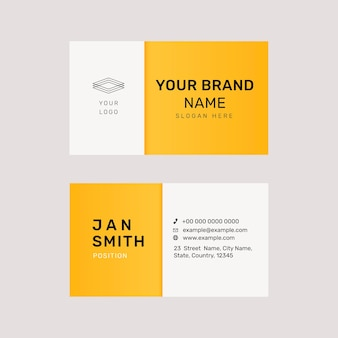 Vibrant business card template psd in yellow
