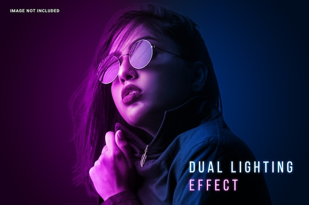Vibrant dual lighting photo effect template